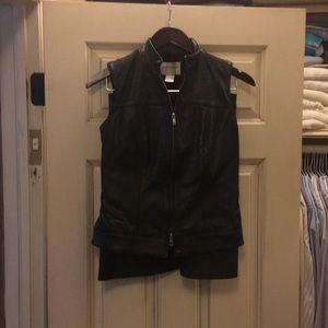 Hugo Buscati Black Leather Skirt and Vest 2/6